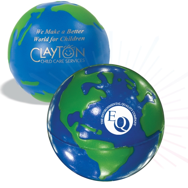 Globe Design Stress Ball, Blue With Green Continents Photo