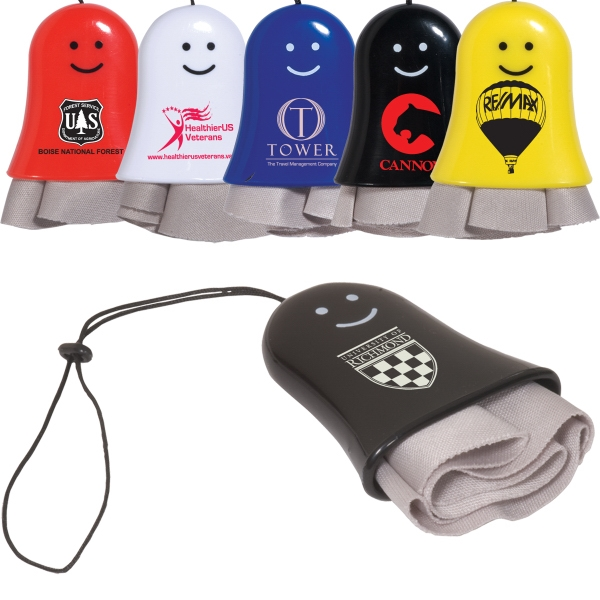 Soft Fabric Smiley Lens Cleaner With Nylon Lanyard. Closeout Photo