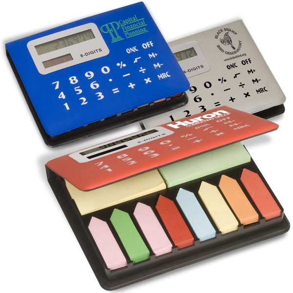Calculator With Sticky Pads And Tape Flags. Closeout Photo