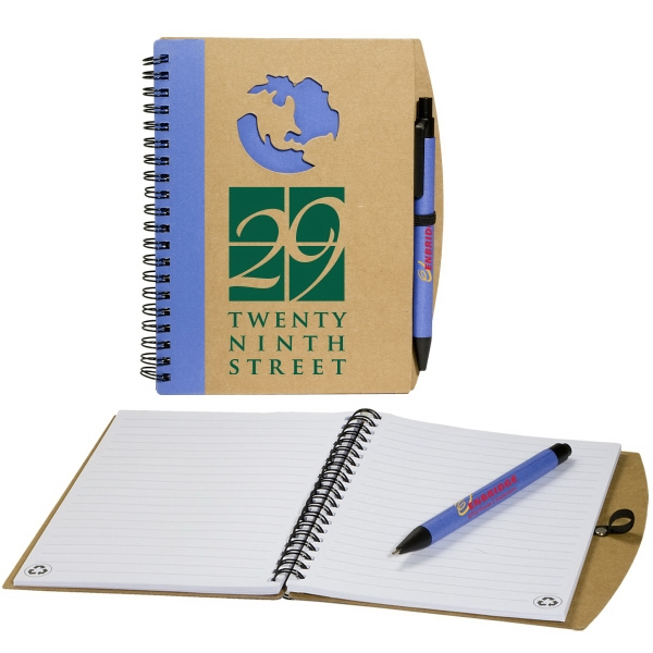 Eco-responsible (tm) - Globe Window Notebook With 70 Pages Ruled White Recycled Paper. Closeout Photo
