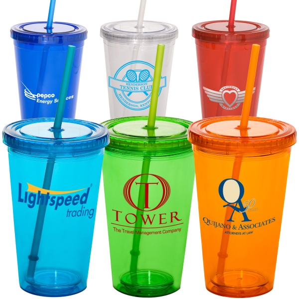 Sturdy Sipper - 16 Oz. Heavy Duty Double Wall Acrylic Cup With Straw And Screw On Lid, Bpa Free Photo