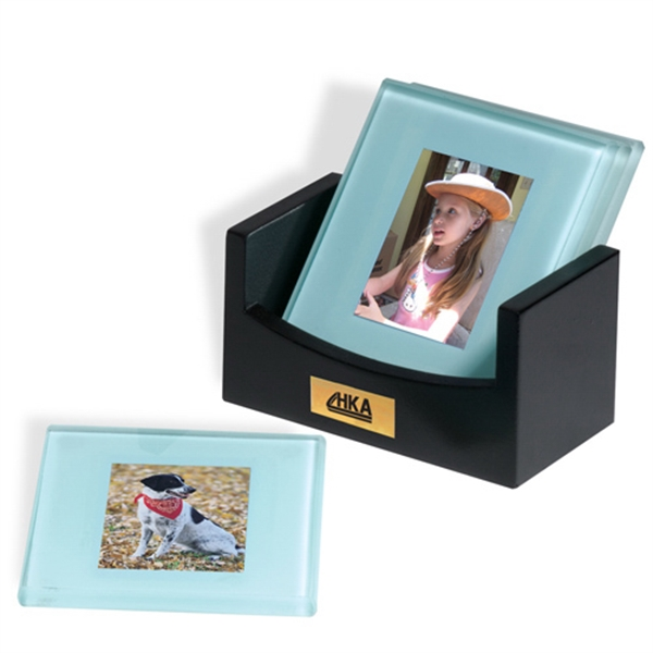 Photo Coaster Set, Jade Glass With Frosted Bevel Edges Photo