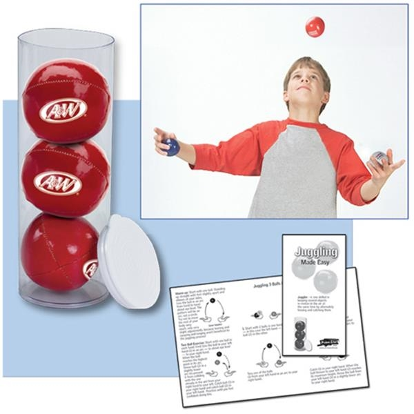 Set Of Three Juggling Leatherette Stress Balls In Case Photo