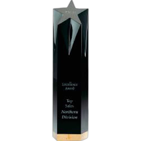 Jaffa (r) Collection - Large Black Optical Crystal And Gold Marble Shooting Star Award Photo