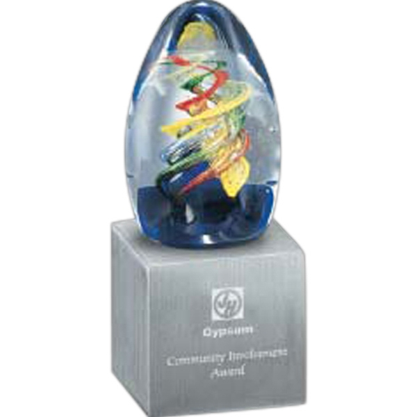 Cassiopeia Award - Art glass award on zinc base.