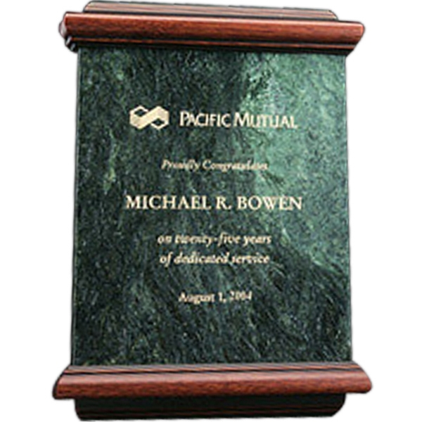 "Senator - Green Marble Award With Wood Trim, Size 9""w X 12""h X 1""d Photo"