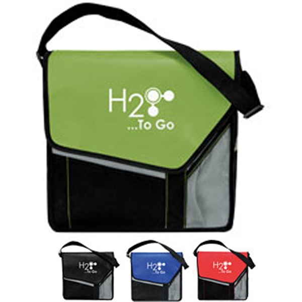 Slant Flap Messenger Bag With Front Flap And Slip Pocket With Hook & Loop Closure Photo