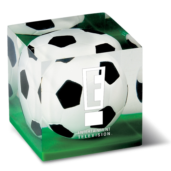 Soccer Acrylic Paperweight Photo