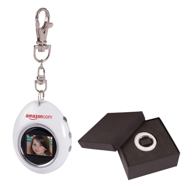 """1.1"""" Oval Digital Photo Keychain"""