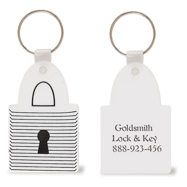 Vinyl Pad Lock Shaped Keychain With Split Ring Photo