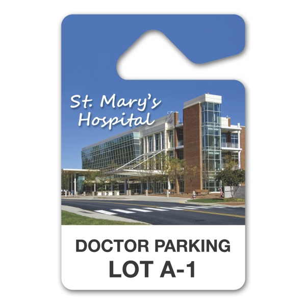 "Laminated Paper Parking Permit Hang Tag, 4 1/2"" X 3"" Photo"