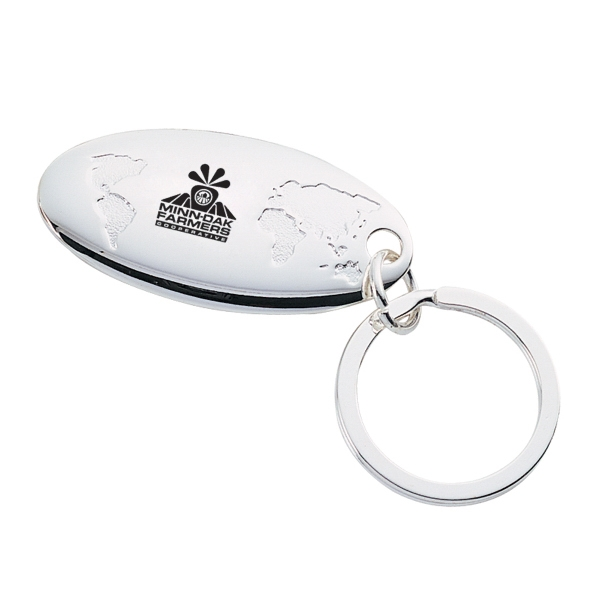 Silver Plated Global Key Chain. Closeout Photo