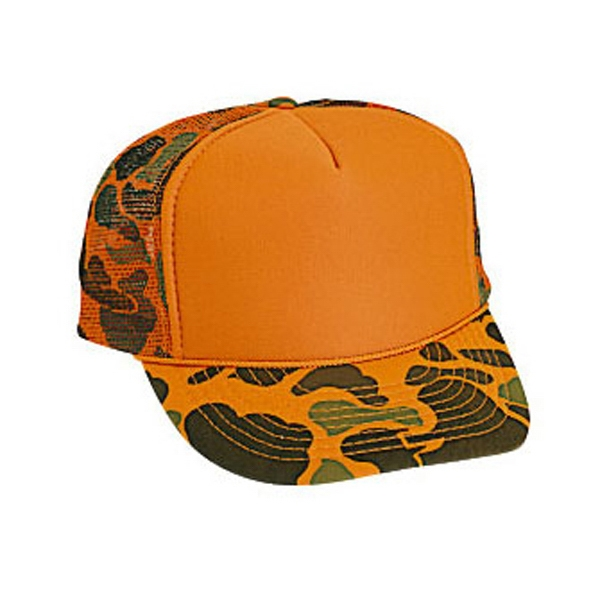 Two Tone Neon Camouflage High Crown Golf Style Cap With Mesh Back. Blank Photo