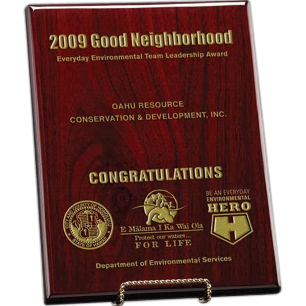 Ellington Windsor Collection - Large Ellington Award - Award Plaque With Hand Rubbed Piano Wood Finish Photo