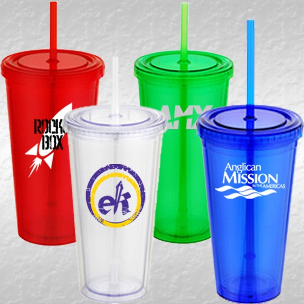 16 Ounce Acrylic Doublewalled Insulated Cup With Lid And Straw Photo