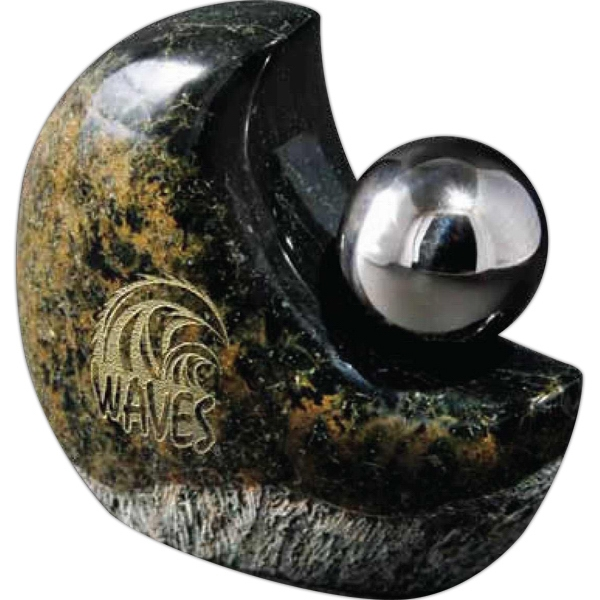 Stone Paperweight With Stainless Sphere, 1 1/4 Lbs Photo