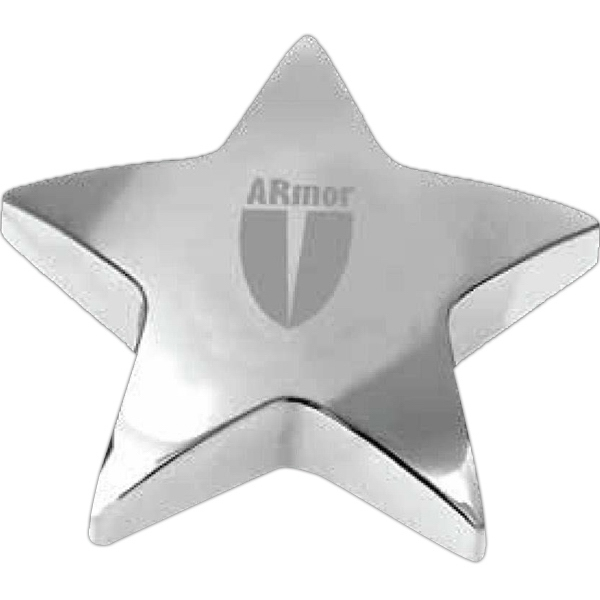 Starbright Ii - Chrome Plated Star Shaped Zinc Alloy Paperweight With Pouch, 13 Oz Photo