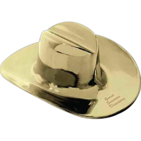 Western Hat Shaped Brass Paperweight, 1/2 Lb Photo