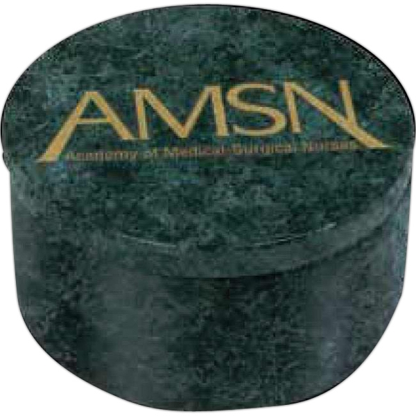 "Imperial I - Round Green Marble Box, 3 1/4"" Diameter X 1 3/4"" Photo"