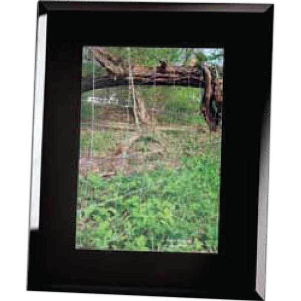 "Black Glass Etched Frame Holds 5"" X 7"" Photo Photo"