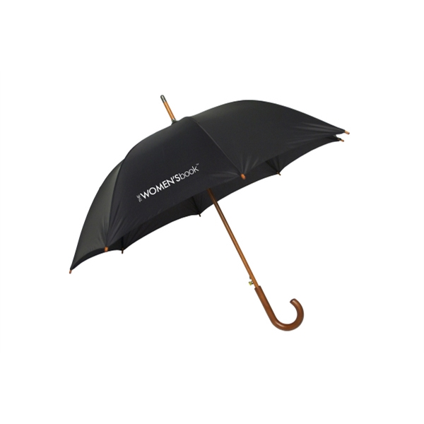 "The Hotel - 48"" Arc, Nylon Fashion Umbrella With Wood Curved Handle Photo"