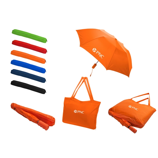 All-in-one - Folding Umbrella/tote Bag With Automatic Opening, Made Of Nylon Photo