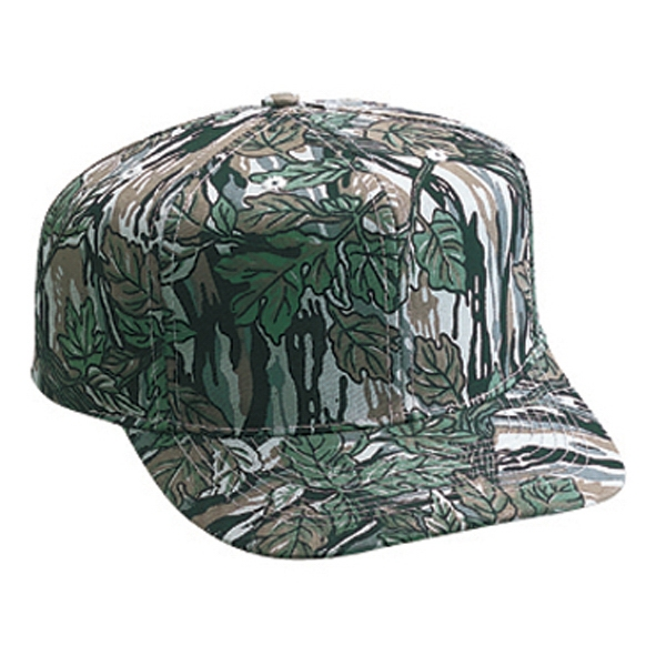 Structured Six Panel Cotton Twill Pro Style Camouflage Cap With Plastic Snap. Blank Photo