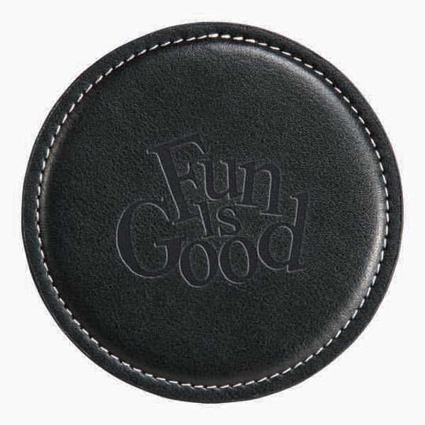 "Achiever - Single Coaster Made From Luxurious Bonded Leather. 4 1/4"" Diameter Photo"