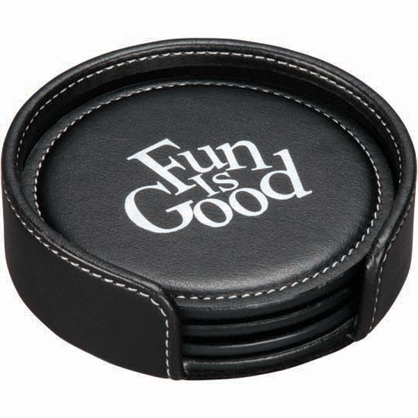 "Achiever - Coaster Set Made From Luxurious Bonded Leather. 4 1/4"" Diameter Photo"