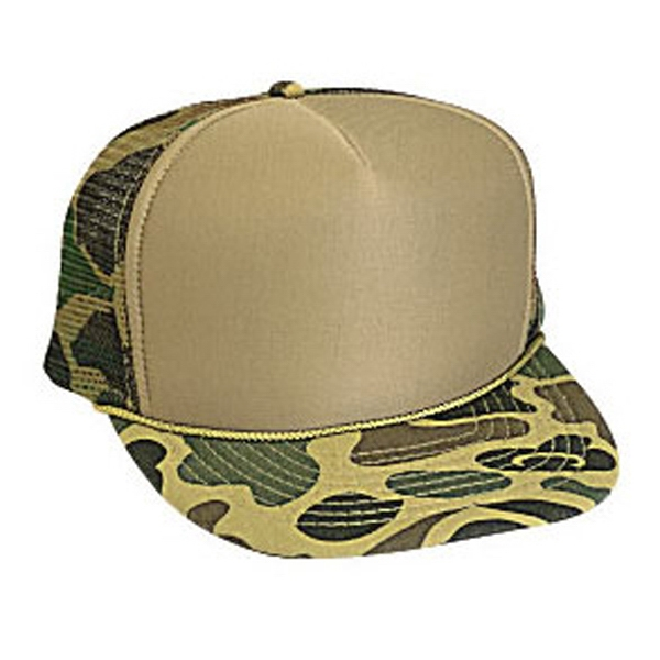 Two Tone Camouflage Golf Style Cap With Foam Front And Mesh Back. Blank Photo