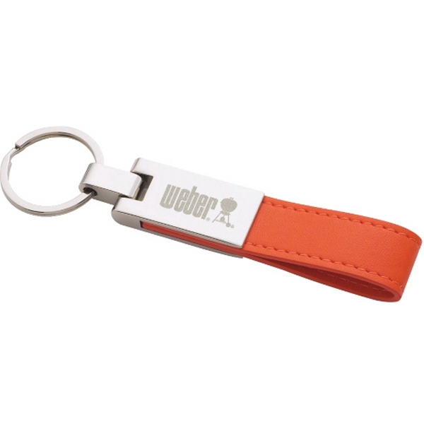 Silver Plated Key Ring With Ultrahyde Strap And Metal Split Ring Photo