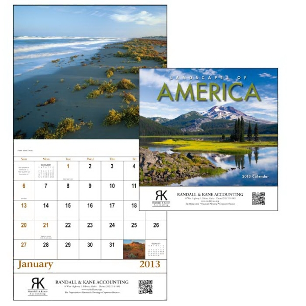 Landscapes Of America - Stapled 13-month 2013 Scenic Calendar With Colorful Landscapes Of America Photo