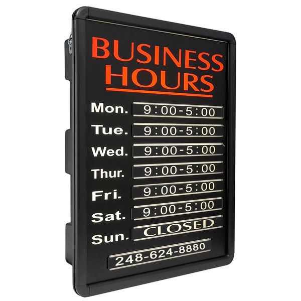 """16"""" x 20"""" Business Hours Simulated Neon Sign - Custom Simulated Neon Sign.  16"""" x 20"""" Business Hours Simulated Neon Sign"""