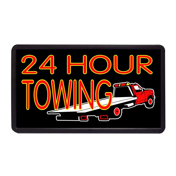 "24 Hour Towing 13"" x 24"" Simulated Neon Sign - Custom Simulated Neon Sign.  13"" x 24"" Ready Made Title Light Box 24 Hour Towing"