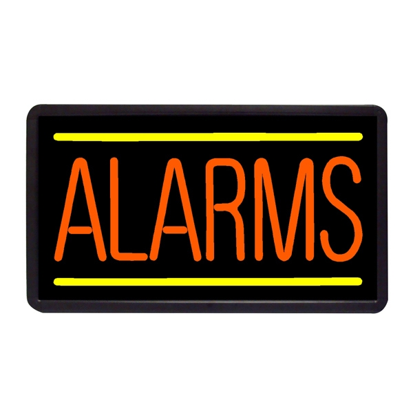 "Alarms 13"" x 24"" Simulated Neon Sign - Custom Simulated Neon Sign.  13"" x 24"" Ready Made Title Light Box Alarms"