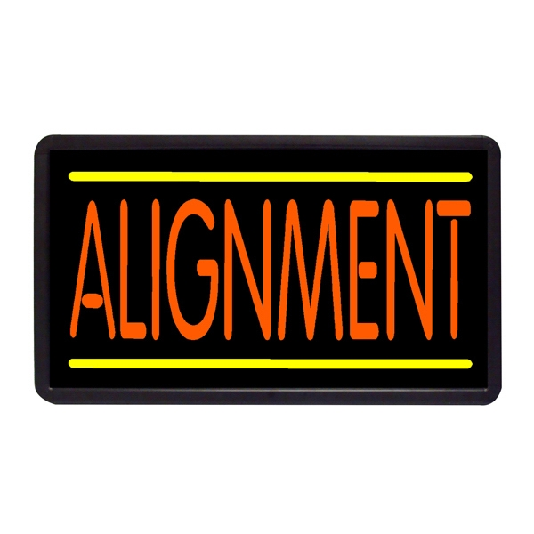 """Alignment 13"""" x 24"""" Simulated Neon Sign - Custom Simulated Neon Sign.  13"""" x 24"""" Ready Made Title Light Box Alignment"""