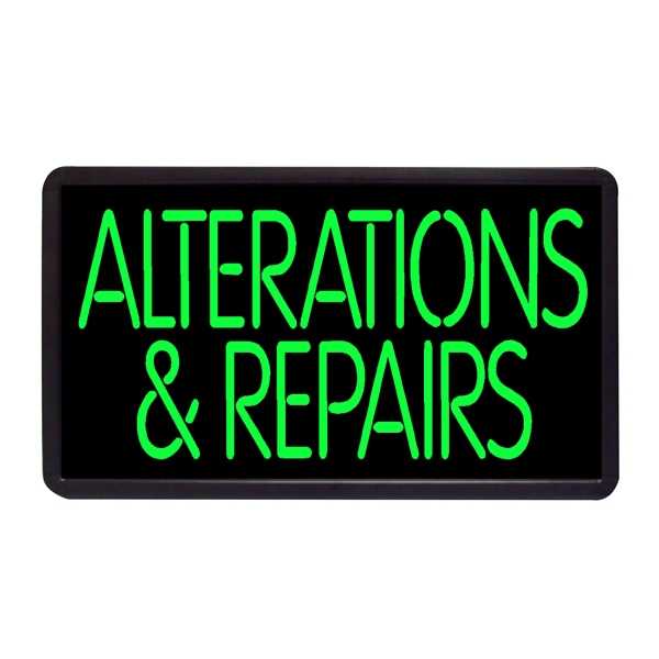 """Alterations & Repairs 13"""" x 24"""" Simulated Neon Sign - Custom Simulated Neon Sign.  13"""" x 24"""" Ready Made Title Light Box Alteration & Repai"""