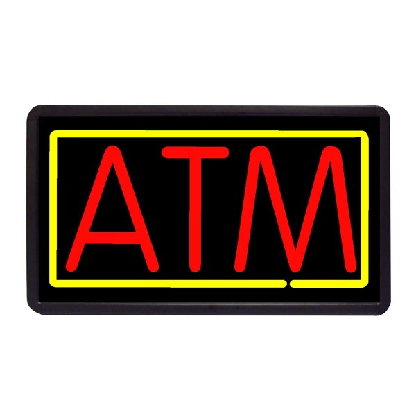 "ATM 13"" x 24"" Simulated Neon Sign - Custom Simulated Neon Sign.  13"" x 24"" Ready Made Title Light Box ATM"