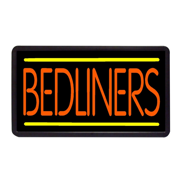 """Bedliners 13"""" x 24"""" Simulated Neon Sign - Custom Simulated Neon Sign.  13"""" x 24"""" Ready Made Title Light Box Bedliners"""