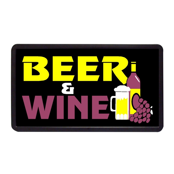 "Beer & Wine 13"" x 24"" Simulated Neon Sign - Custom Simulated Neon Sign.  13"" x 24"" Ready Made Title Light Box  Beer & Wine"