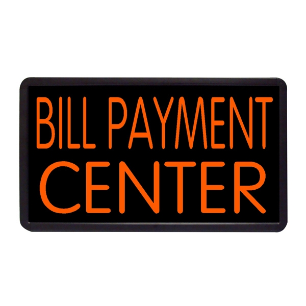 "Bill Payment Center 13"" x 24"" Simulated Neon Sign - Custom Simulated Neon Sign.  13"" x 24"" Ready Made Title Light Box Bill Payment Cente"