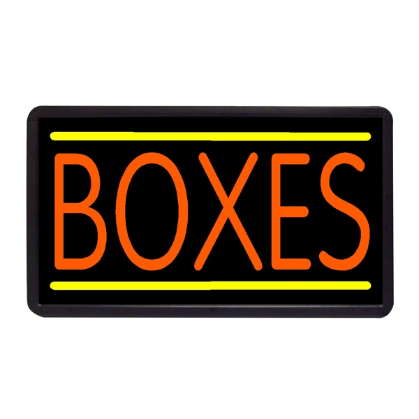 """Boxes 13"""" x 24"""" Simulated Neon Sign - Custom Simulated Neon Sign.  13"""" x 24"""" Ready Made Title Light Box Boxes"""