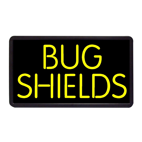 "Bug Shields 13"" x 24"" Simulated Neon Sign - Custom Simulated Neon Sign.  13"" x 24"" Ready Made Title Light Box Bug Shields"