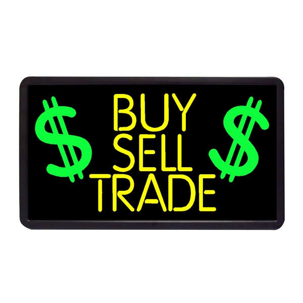 """Buy Sell & Trade 13"""" x 24"""" Simulated Neon Sign - Custom Simulated Neon Sign.  13"""" x 24"""" Ready Made Title Light Box  Buy Sell & Trade"""