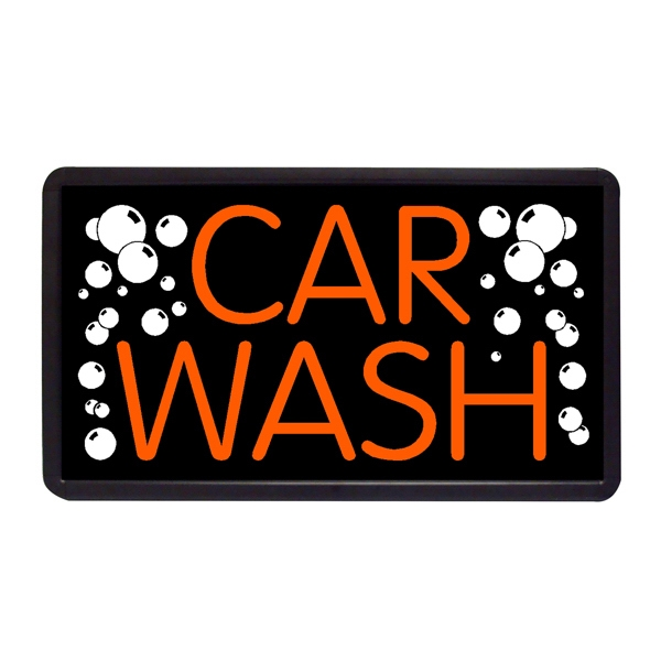 "Car Wash 13"" x 24"" Simulated Neon Sign - Custom Simulated Neon Sign.  13"" x 24"" Ready Made Title Light Box Car Wash"