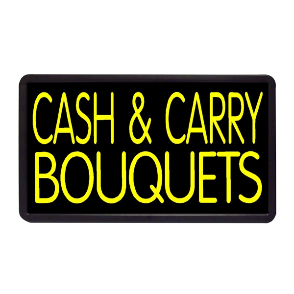 """Cash & Carry Bouquets 13"""" x 24"""" Simulated Neon Sign - Custom Simulated Neon Sign.  13"""" x 24"""" Ready Made Title Light Box  Cash & Carry Bouq"""