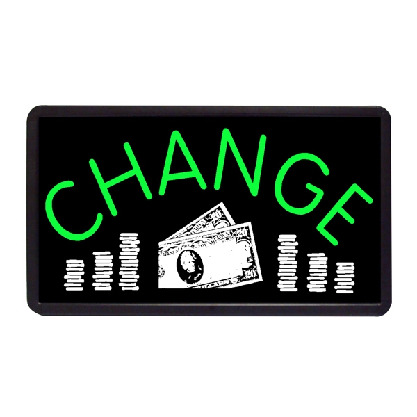 "Change 13"" x 24"" Simulated Neon Sign - Custom Simulated Neon Sign.  13"" x 24"" Ready Made Title Light Box Change"