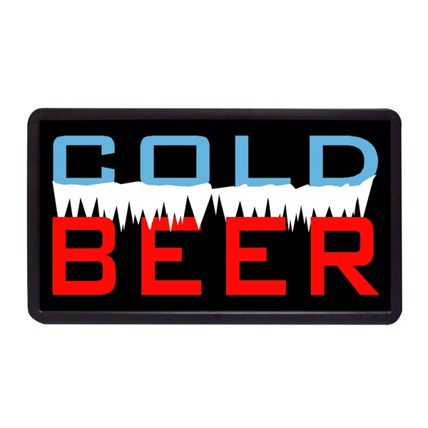"Cold Beer 13"" x 24"" Simulated Neon Sign - Custom Simulated Neon Sign.  13"" x 24"" Ready Made Title Light Box Cold Beer."