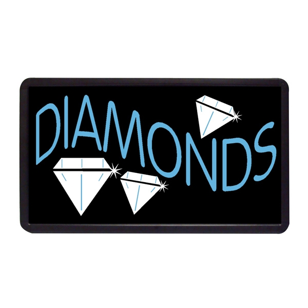 "Diamonds 13"" x 24"" Simulated Neon Sign - Custom Simulated Neon Sign.  13"" x 24"" Ready Made Title Light Box Diamonds"