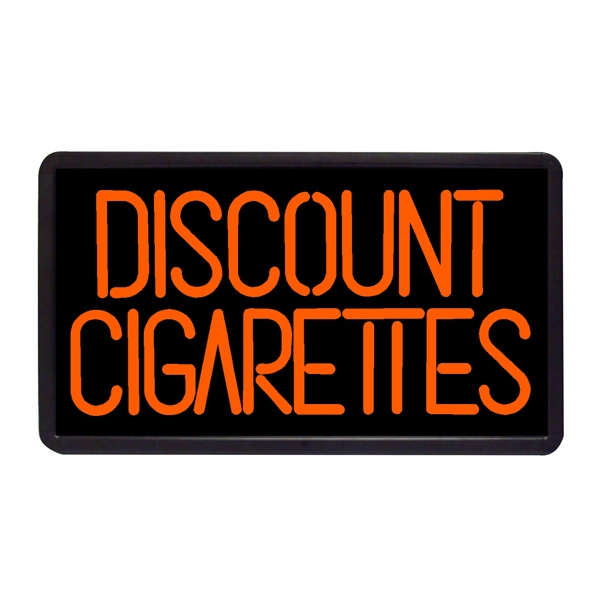 "Discount Cigarettes 13"" x 24"" Simulated Neon Sign - Custom Simulated Neon Sign.  13"" x 24"" Ready Made Title Light Box  Discount Cigarettes"